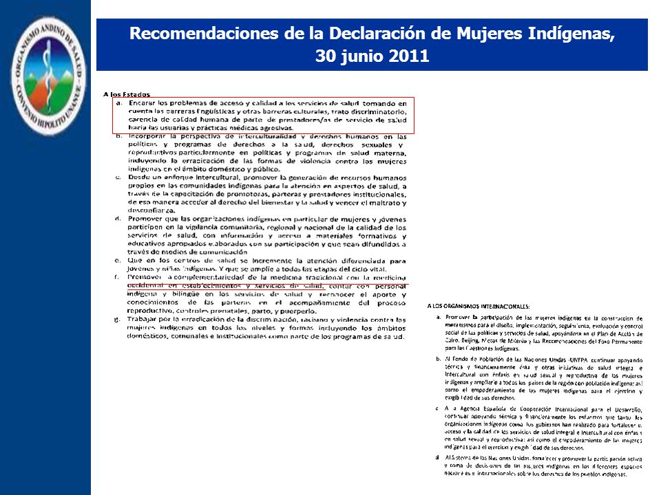 Recomendaciones de la Declaración de Mujeres Indígenas,