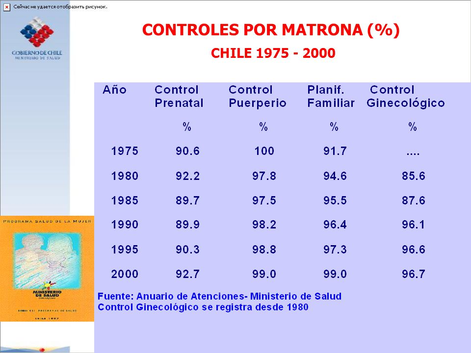 CONTROLES POR MATRONA (%) CHILE 1975 - 2000