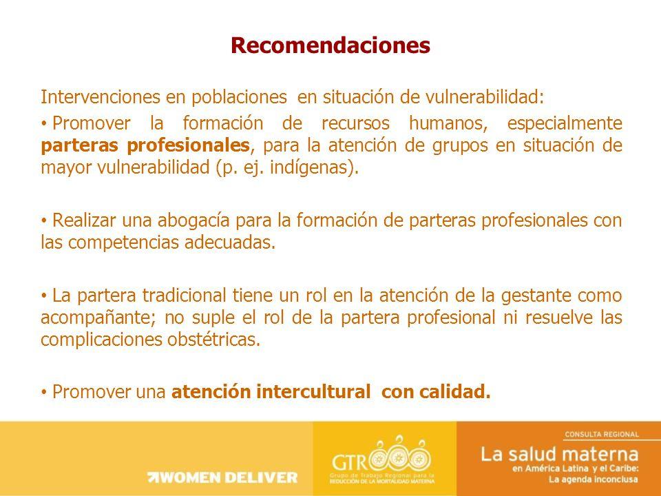 Recomendaciones Intervenciones en poblaciones en situación de vulnerabilidad: