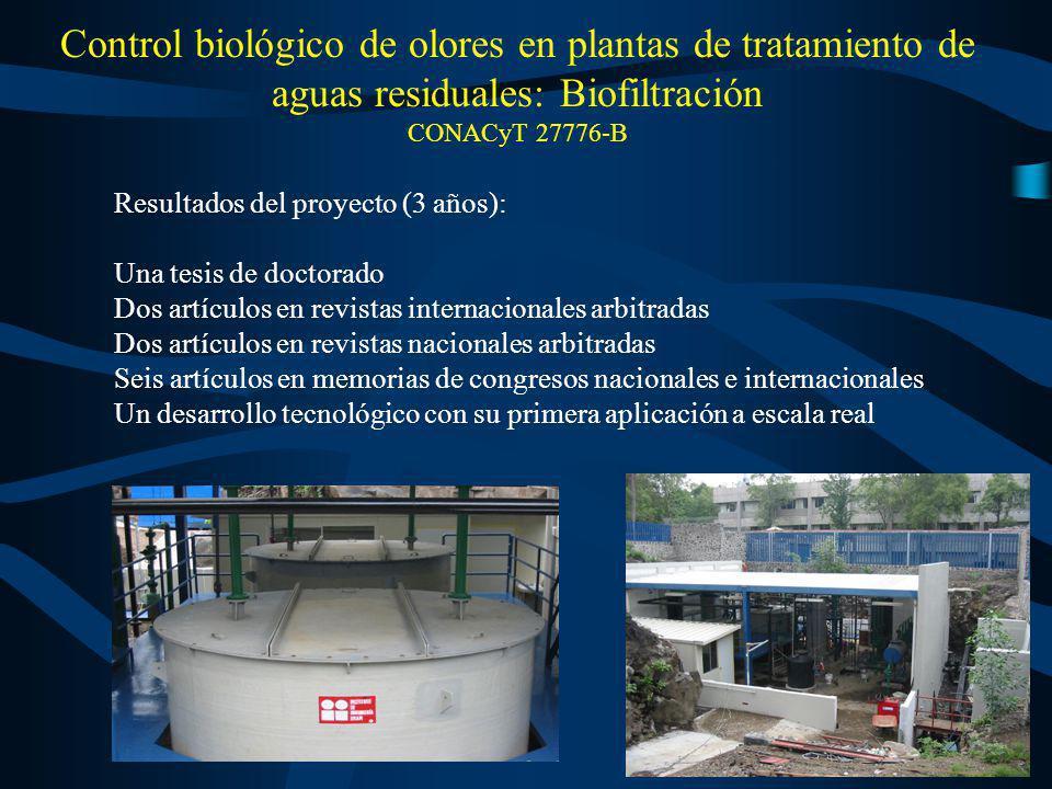 Control biológico de olores en plantas de tratamiento de aguas residuales: Biofiltración CONACyT 27776-B