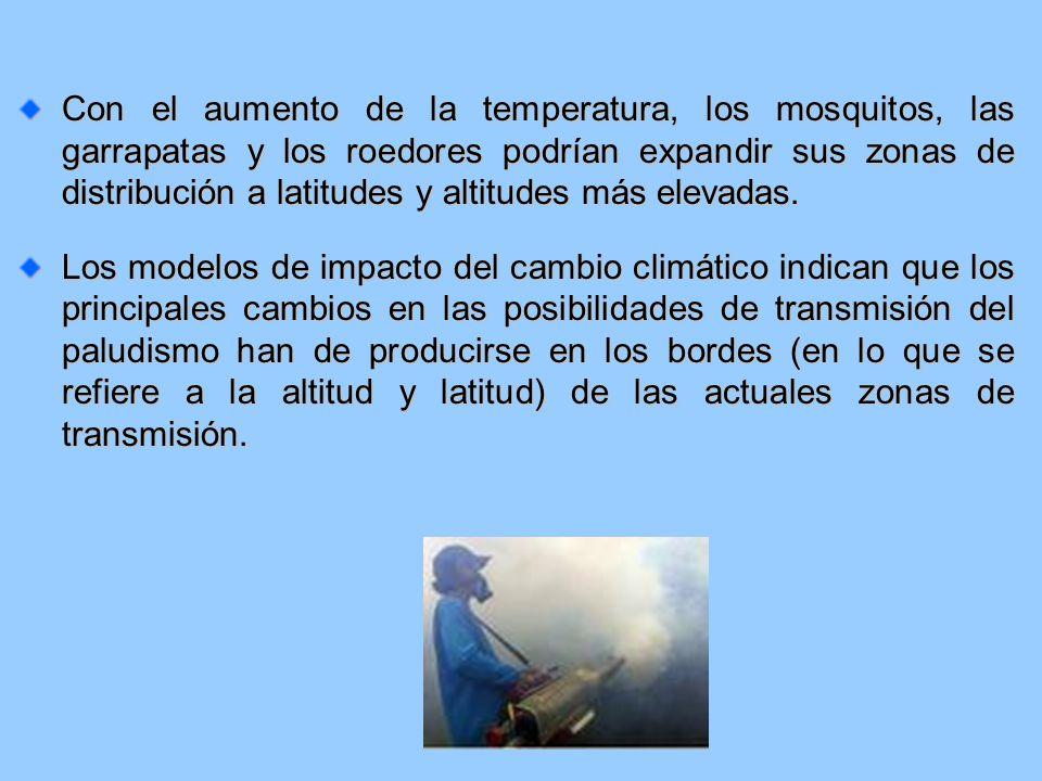 Con el aumento de la temperatura, los mosquitos, las garrapatas y los roedores podrían expandir sus zonas de distribución a latitudes y altitudes más elevadas.
