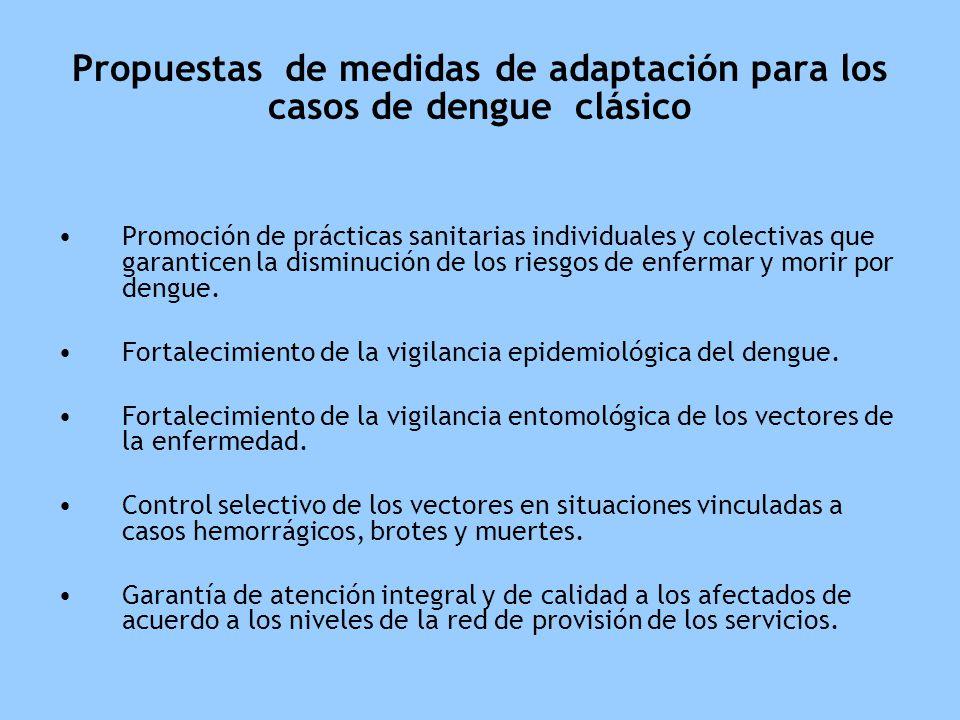 Propuestas de medidas de adaptación para los casos de dengue clásico