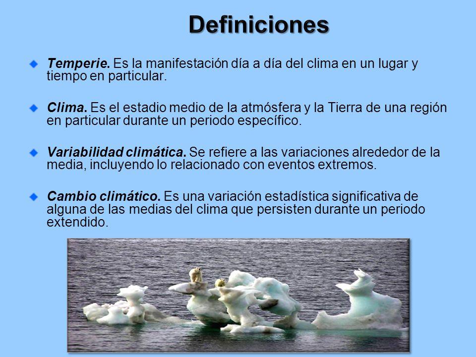 Definiciones Temperie. Es la manifestación día a día del clima en un lugar y tiempo en particular.