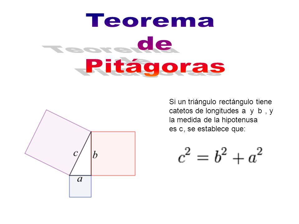 Teorema de. Pitágoras. Si un triángulo rectángulo tiene catetos de longitudes a y b , y la medida de la hipotenusa.