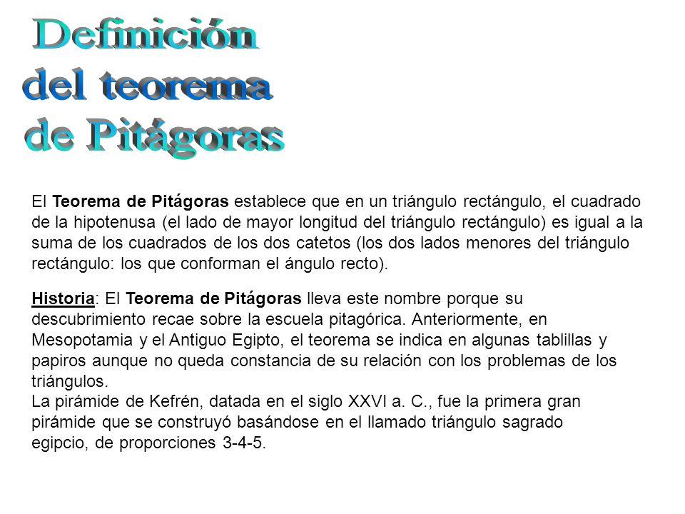 Definición del teorema de Pitágoras