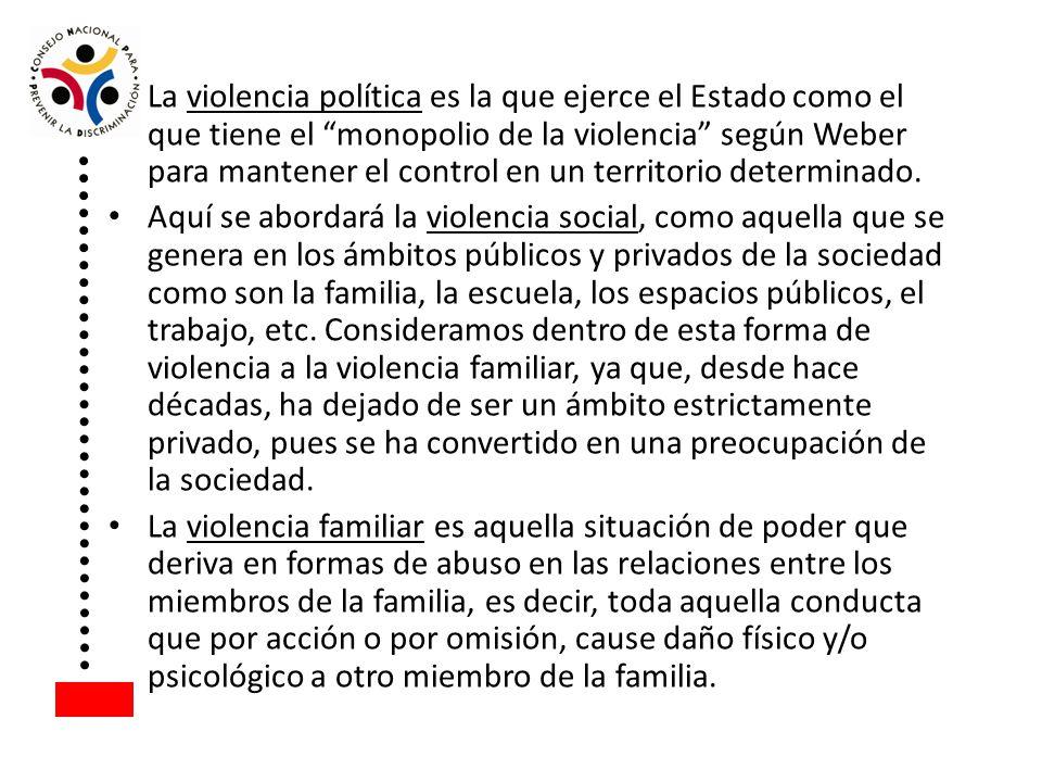 La violencia política es la que ejerce el Estado como el que tiene el monopolio de la violencia según Weber para mantener el control en un territorio determinado.