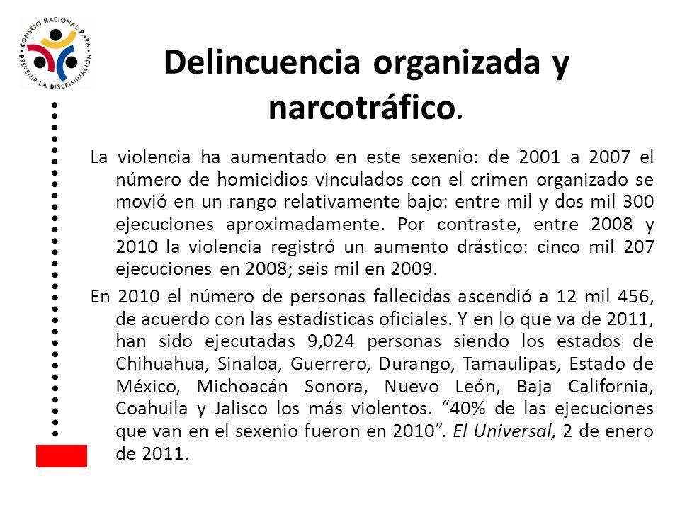 Delincuencia organizada y narcotráfico.