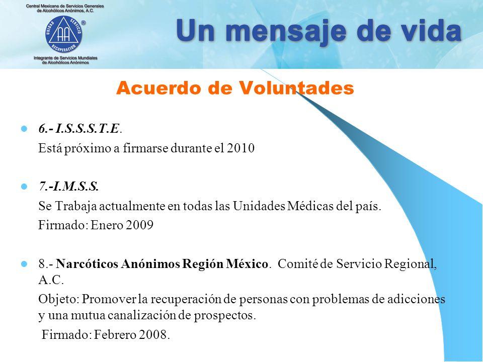 Acuerdo de Voluntades 6.- I.S.S.S.T.E.