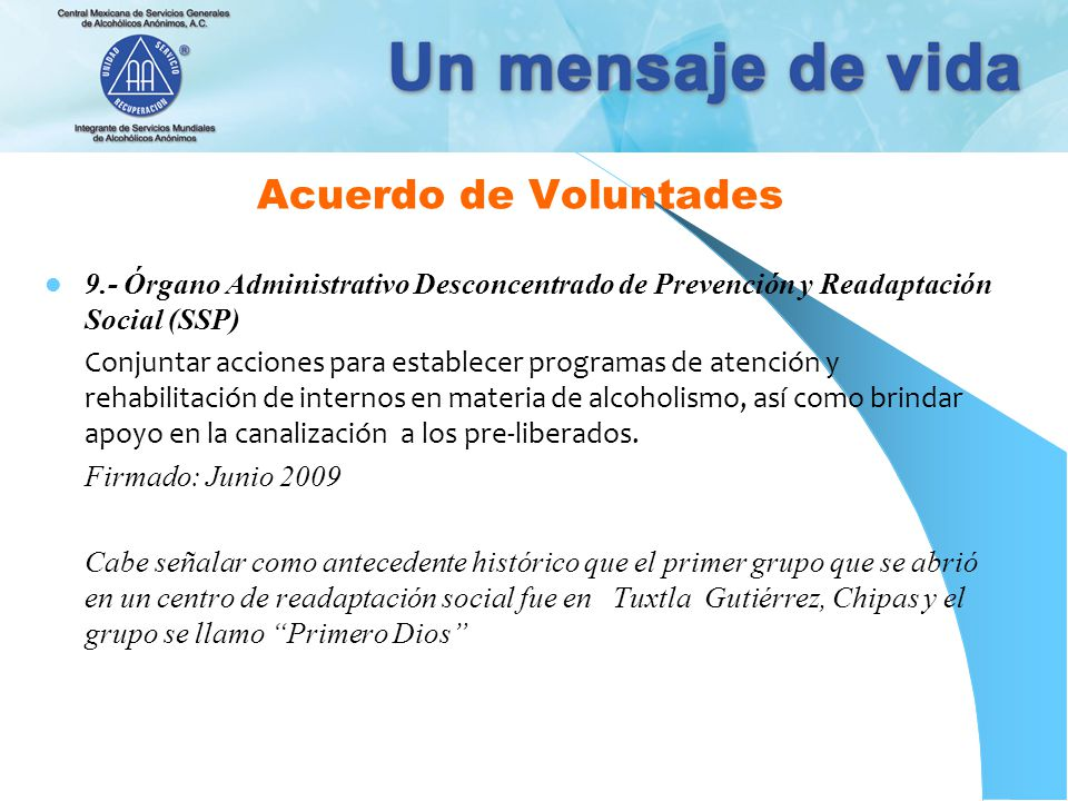 Acuerdo de Voluntades 9.- Órgano Administrativo Desconcentrado de Prevención y Readaptación Social (SSP)