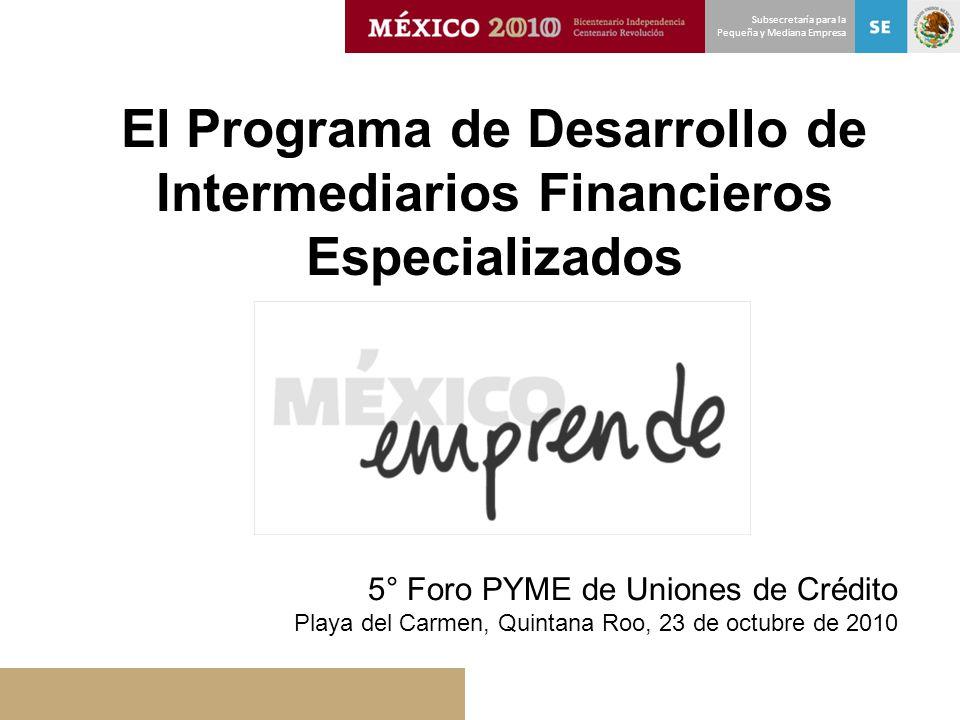El Programa de Desarrollo de Intermediarios Financieros Especializados