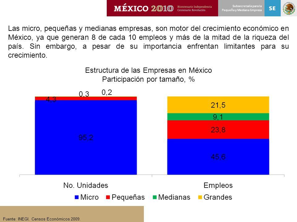 Estructura de las Empresas en México Participación por tamaño, %