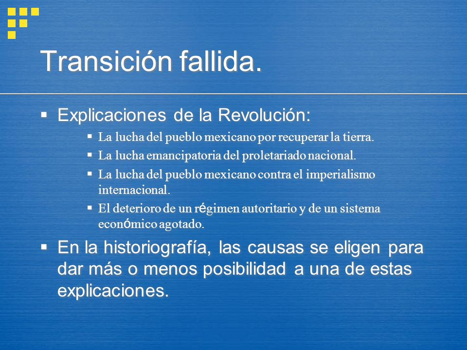 Transición fallida. Explicaciones de la Revolución: