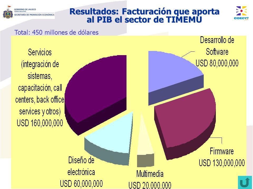 Resultados: Facturación que aporta al PIB el sector de TIMEMU