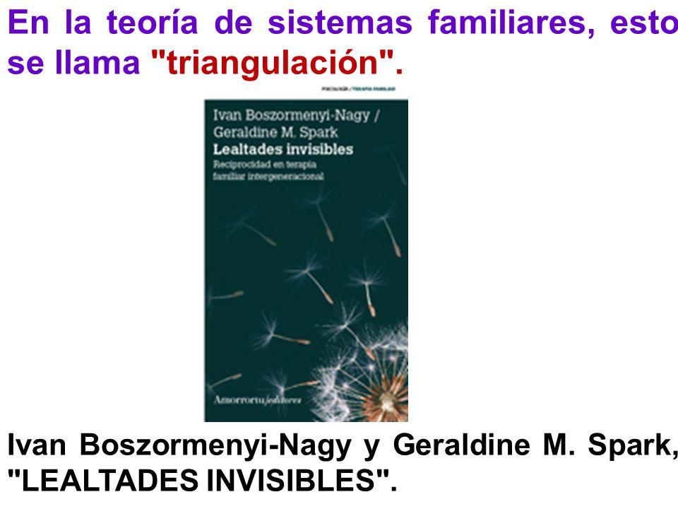 En la teoría de sistemas familiares, esto se llama triangulación .