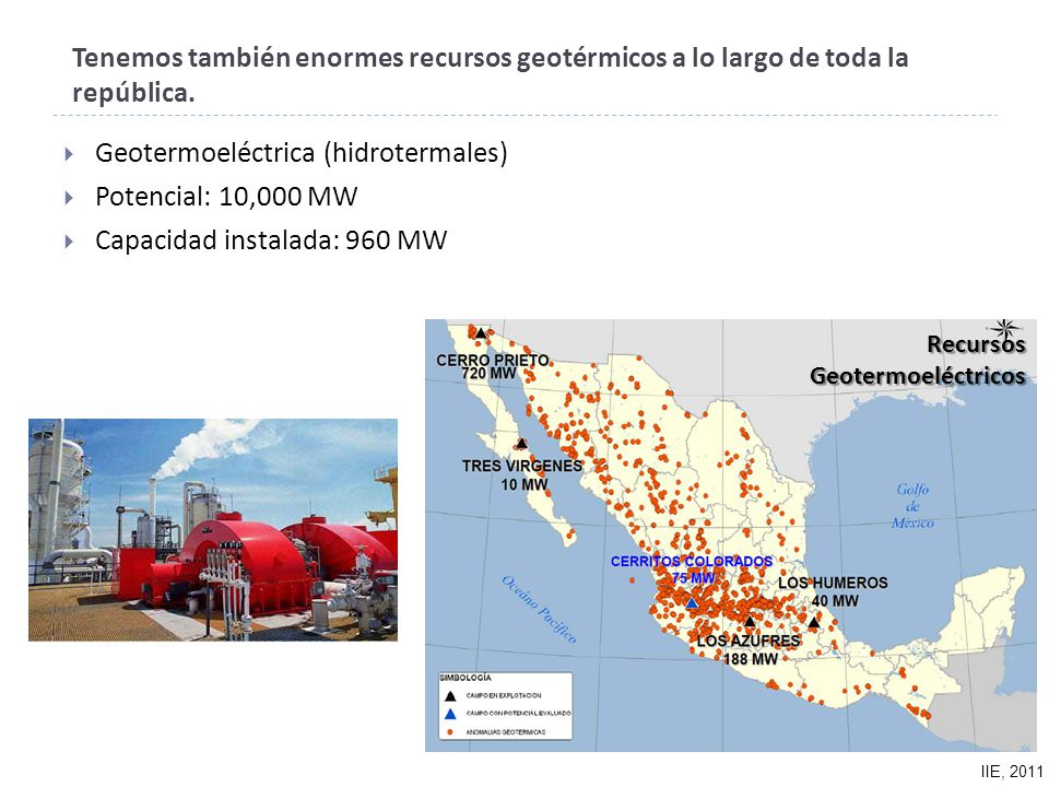 Geotermoeléctrica (hidrotermales) Potencial: 10,000 MW