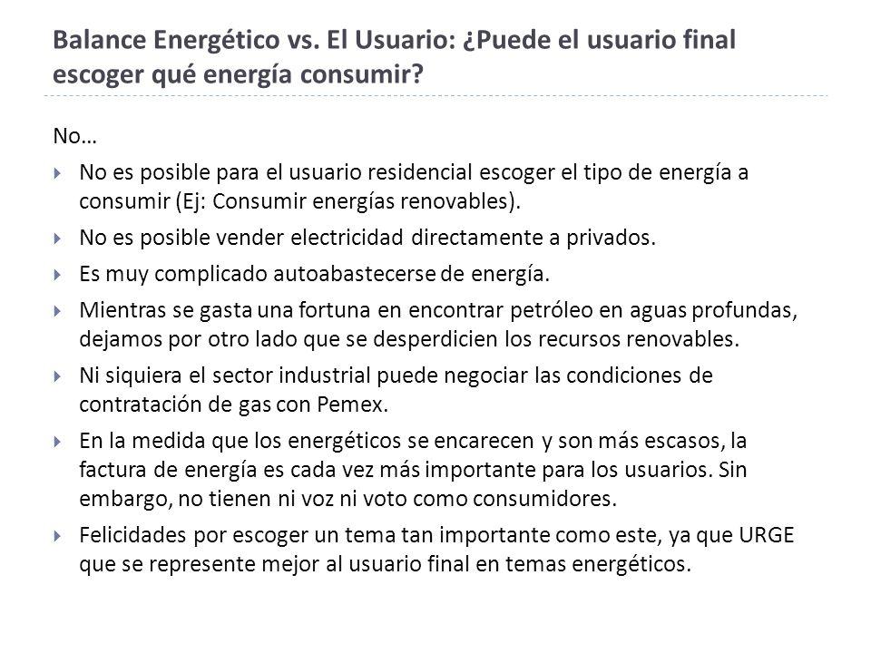 Balance Energético vs. El Usuario: ¿Puede el usuario final escoger qué energía consumir