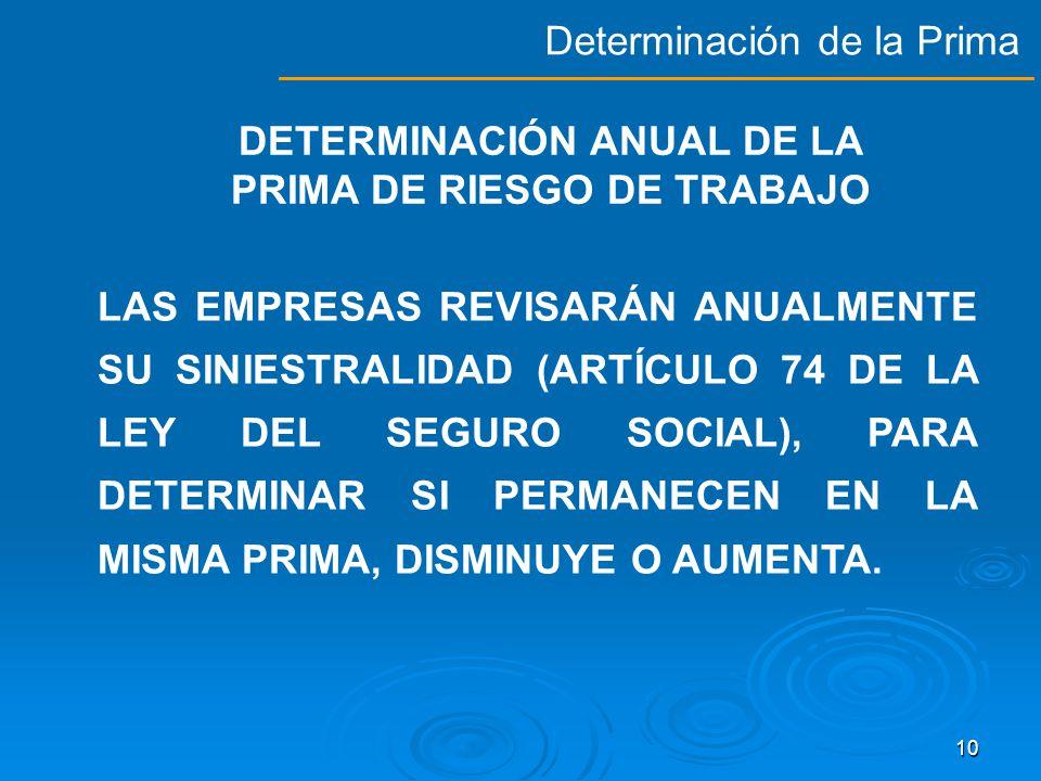 DETERMINACIÓN ANUAL DE LA PRIMA DE RIESGO DE TRABAJO