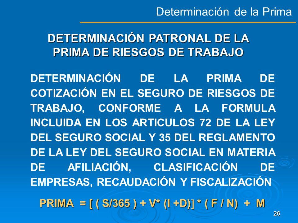 DETERMINACIÓN PATRONAL DE LA PRIMA DE RIESGOS DE TRABAJO