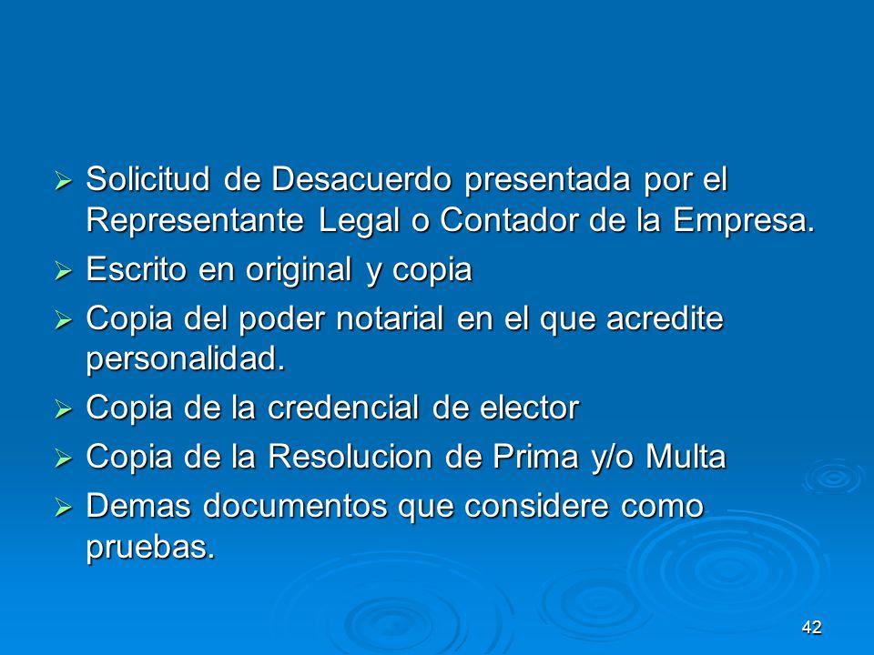 Solicitud de Desacuerdo presentada por el Representante Legal o Contador de la Empresa.