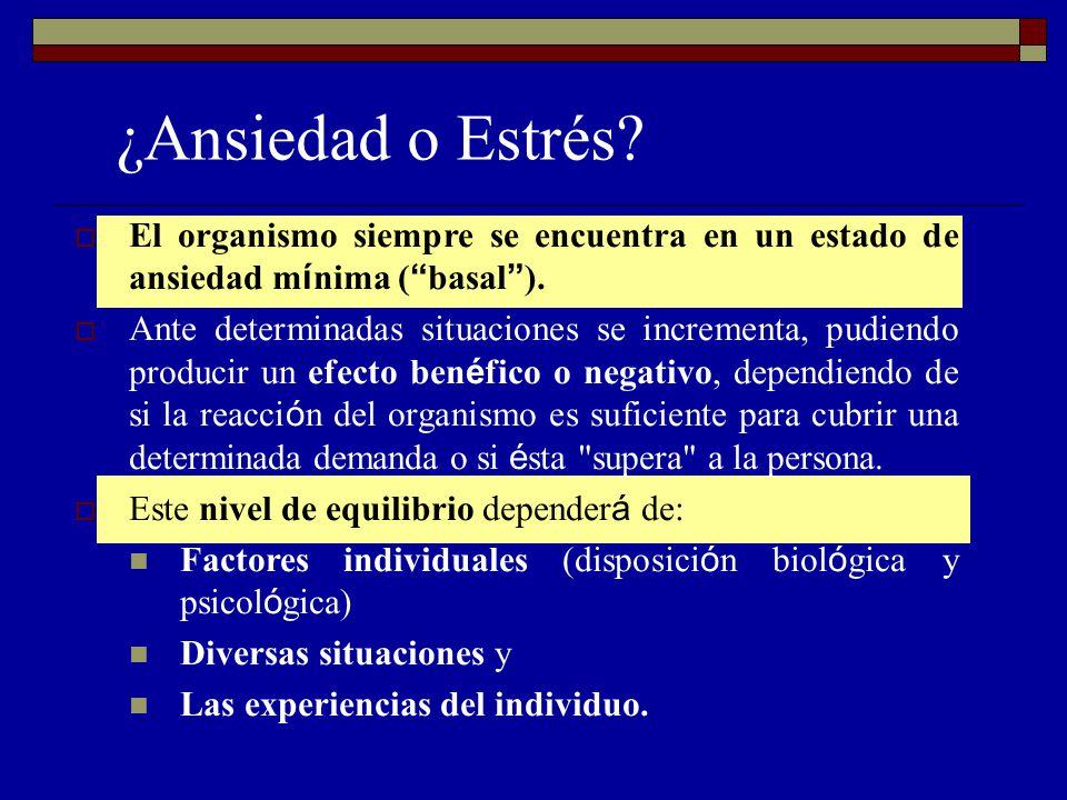 ¿Ansiedad o Estrés El organismo siempre se encuentra en un estado de ansiedad mínima ( basal ).