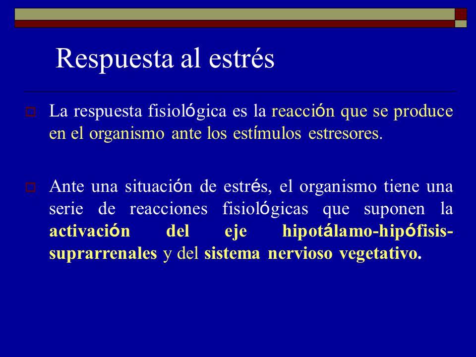 Respuesta al estrés La respuesta fisiológica es la reacción que se produce en el organismo ante los estímulos estresores.