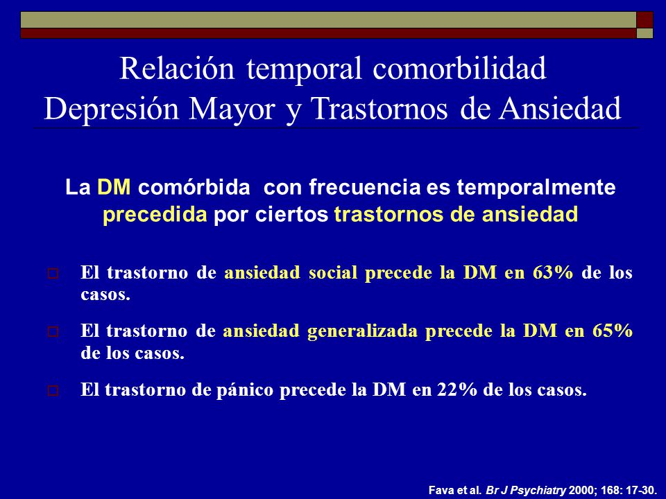 Relación temporal comorbilidad Depresión Mayor y Trastornos de Ansiedad