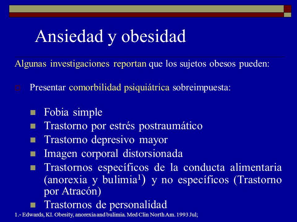 Ansiedad y obesidad Fobia simple Trastorno por estrés postraumático