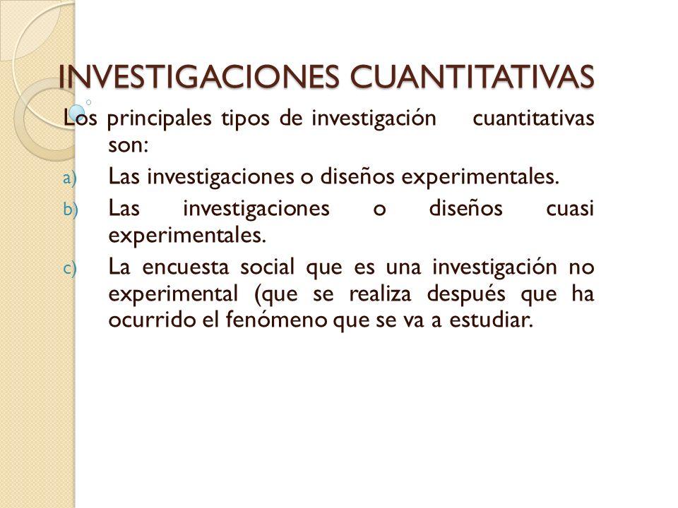 INVESTIGACIONES CUANTITATIVAS