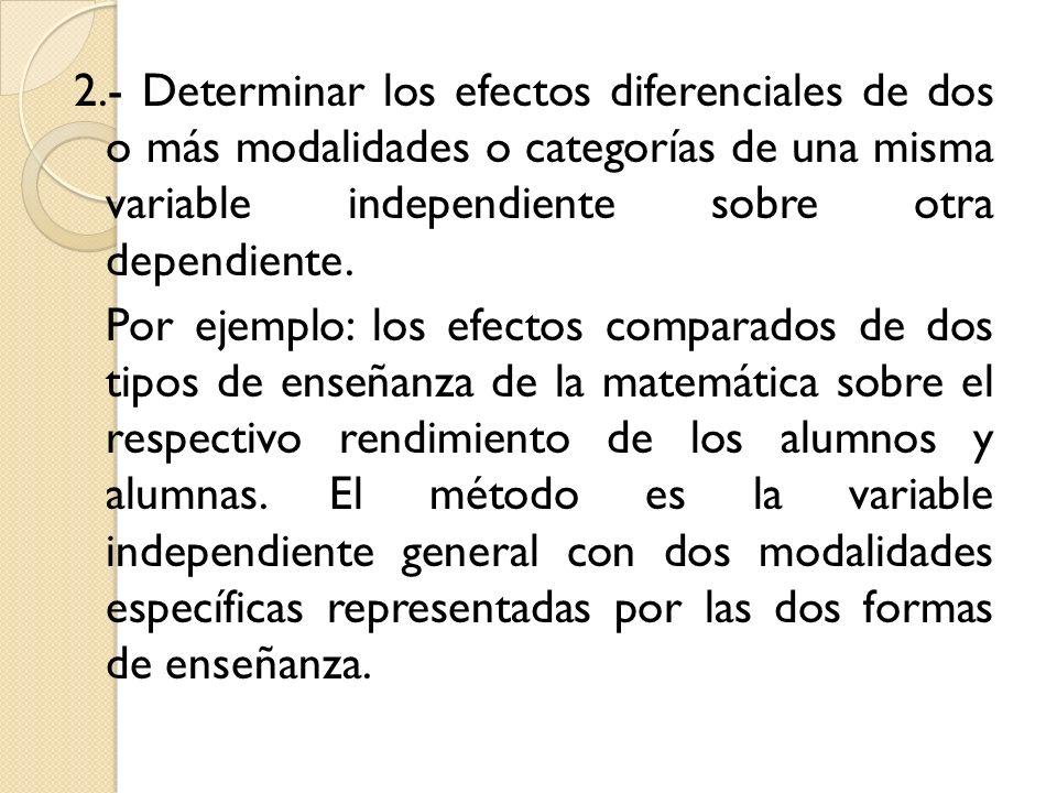 2.- Determinar los efectos diferenciales de dos o más modalidades o categorías de una misma variable independiente sobre otra dependiente.