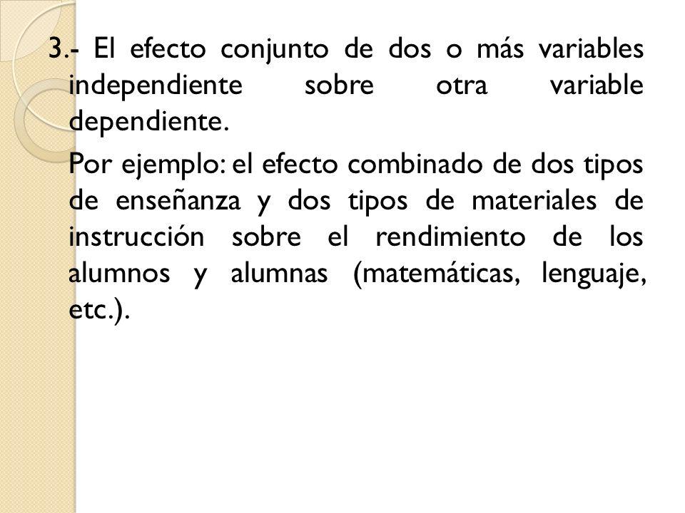 3.- El efecto conjunto de dos o más variables independiente sobre otra variable dependiente.