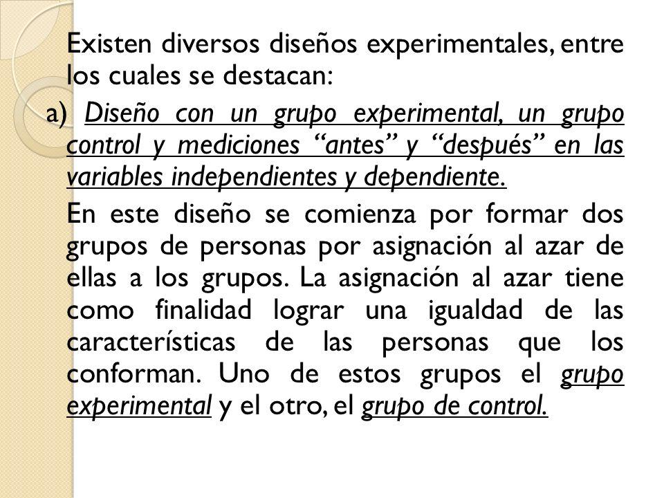 Existen diversos diseños experimentales, entre los cuales se destacan: a) Diseño con un grupo experimental, un grupo control y mediciones antes y después en las variables independientes y dependiente.