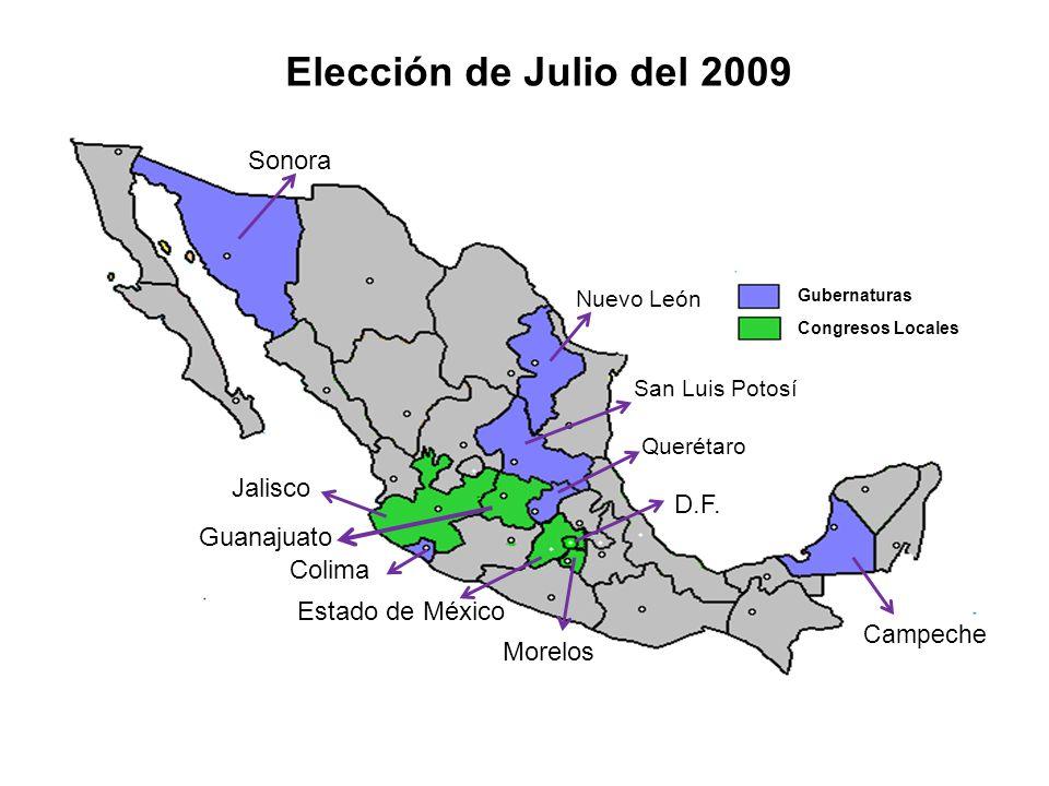 Elección de Julio del 2009 Sonora Jalisco D.F. Guanajuato Colima