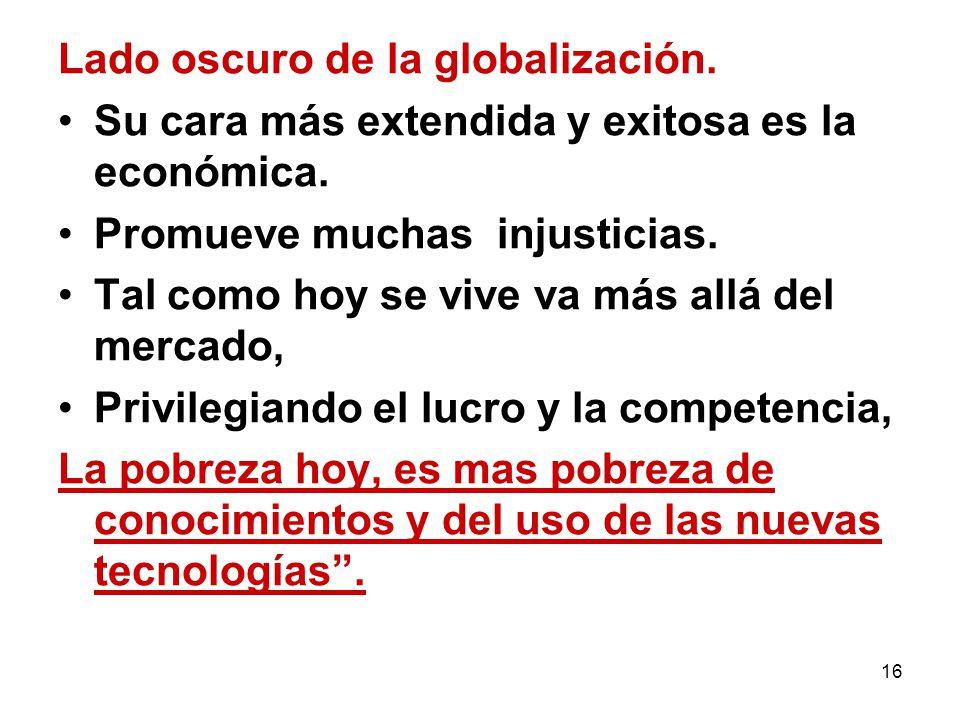 Lado oscuro de la globalización.