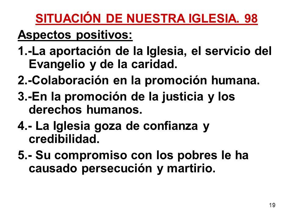 SITUACIÓN DE NUESTRA IGLESIA. 98