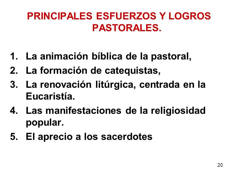 PRINCIPALES ESFUERZOS Y LOGROS PASTORALES.