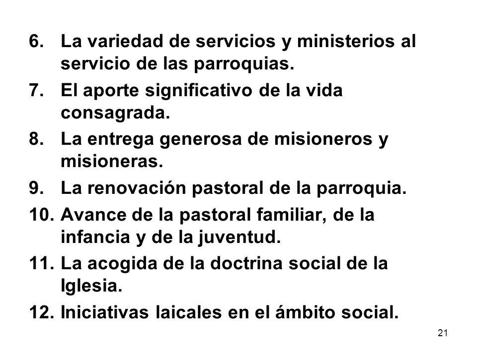 La variedad de servicios y ministerios al servicio de las parroquias.