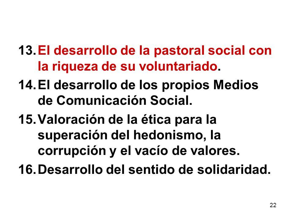 El desarrollo de la pastoral social con la riqueza de su voluntariado.