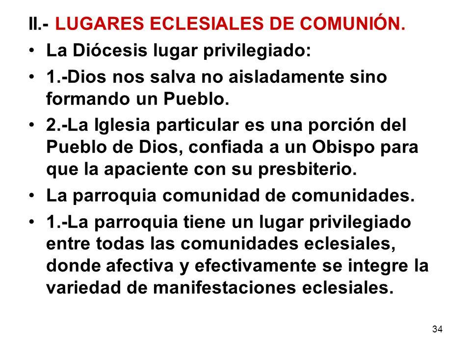 II.- LUGARES ECLESIALES DE COMUNIÓN.