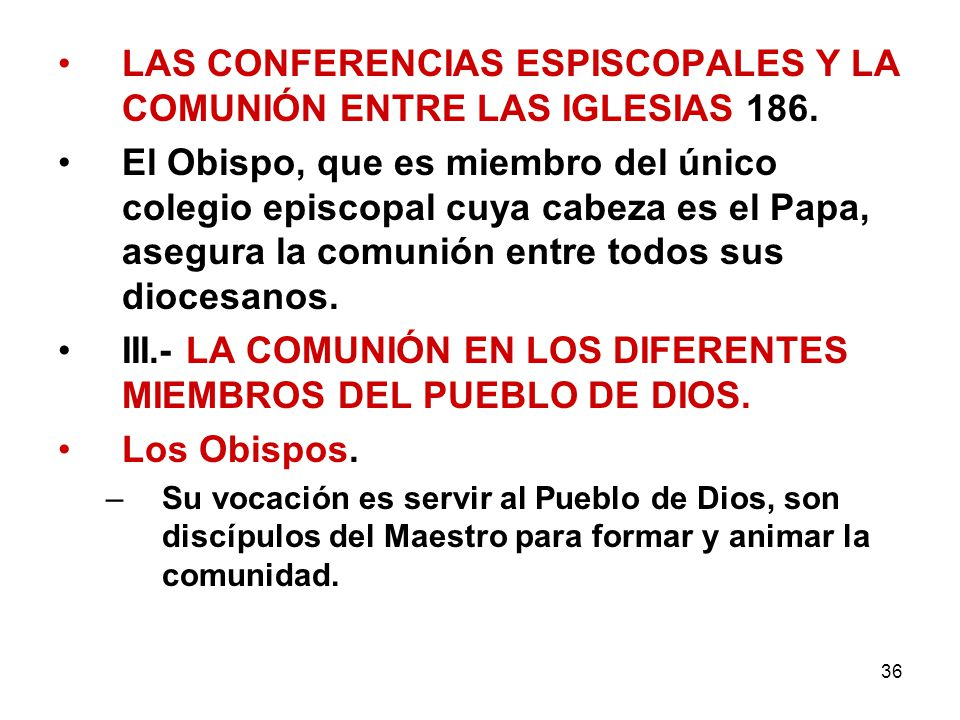 LAS CONFERENCIAS ESPISCOPALES Y LA COMUNIÓN ENTRE LAS IGLESIAS 186.