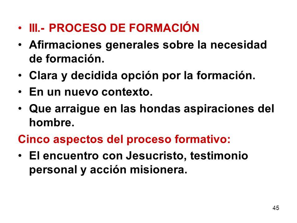 III.- PROCESO DE FORMACIÓN