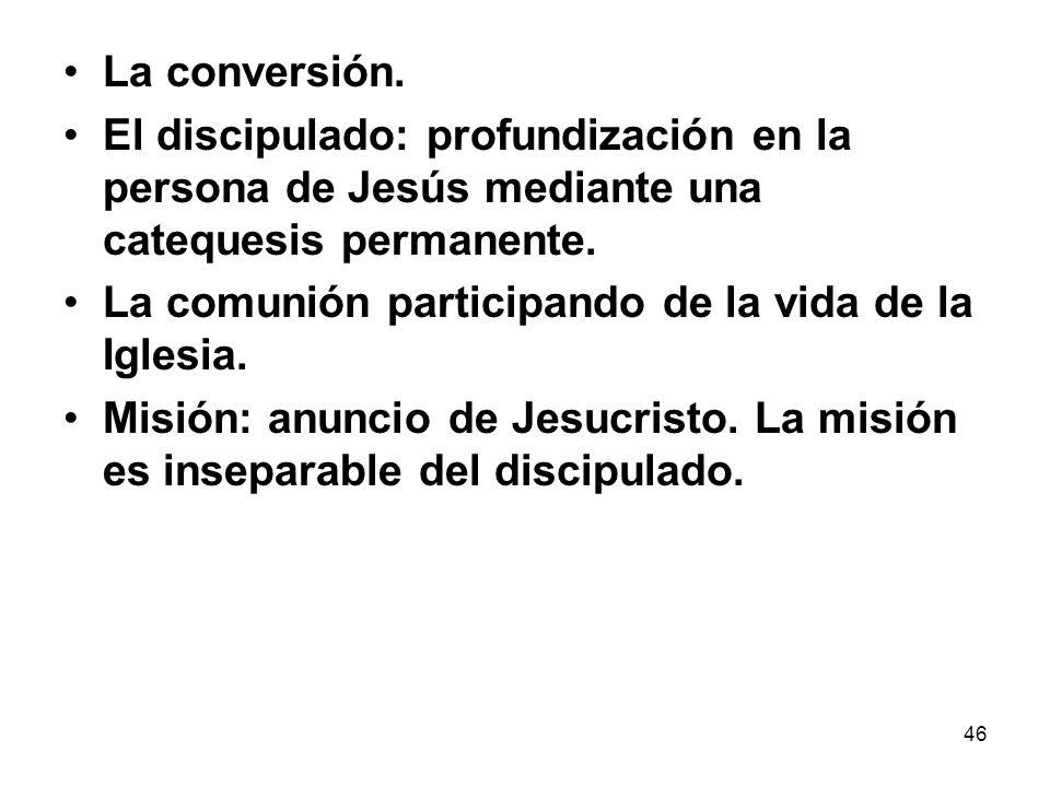 La conversión. El discipulado: profundización en la persona de Jesús mediante una catequesis permanente.