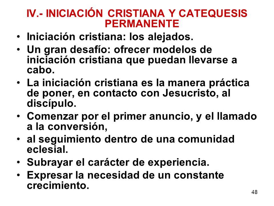 IV.- INICIACIÓN CRISTIANA Y CATEQUESIS PERMANENTE