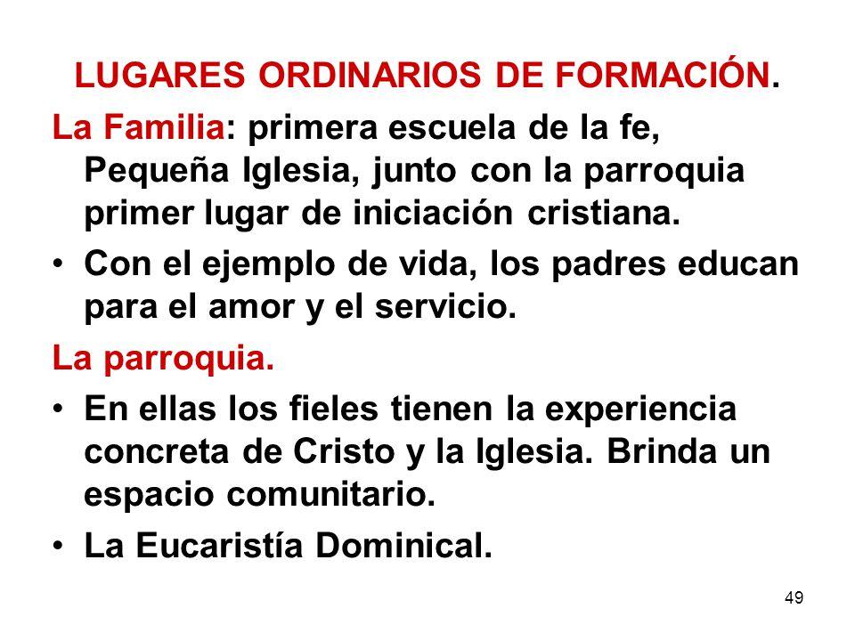 LUGARES ORDINARIOS DE FORMACIÓN.