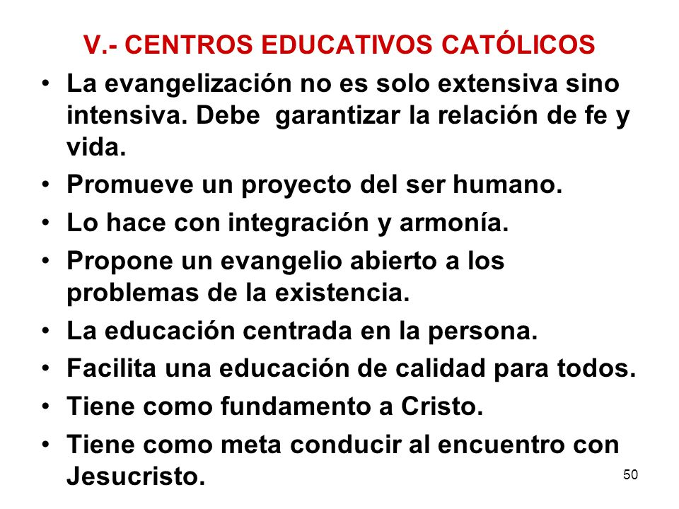 V.- CENTROS EDUCATIVOS CATÓLICOS