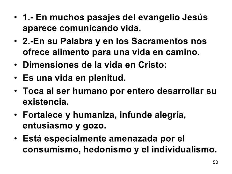 1.- En muchos pasajes del evangelio Jesús aparece comunicando vida.