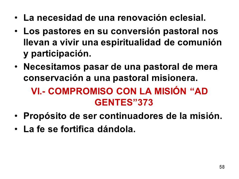 VI.- COMPROMISO CON LA MISIÓN AD GENTES 373