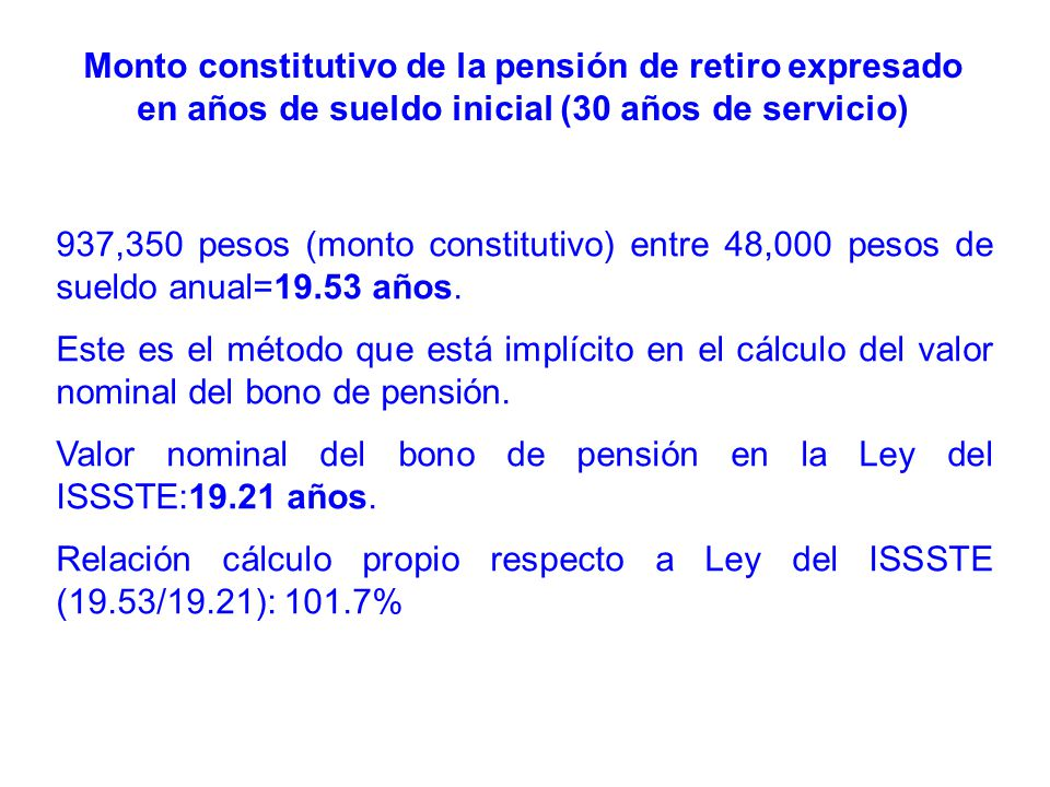 Monto constitutivo de la pensión de retiro expresado en años de sueldo inicial (30 años de servicio)