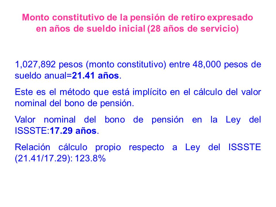 Monto constitutivo de la pensión de retiro expresado en años de sueldo inicial (28 años de servicio)