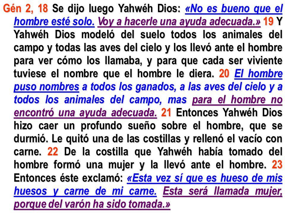 Gén 2, 18 Se dijo luego Yahwéh Dios: «No es bueno que el hombre esté solo.