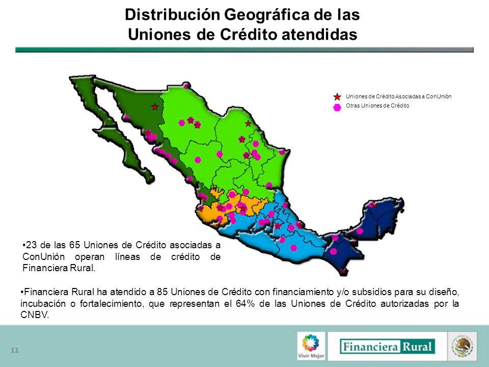 Distribución Geográfica de las Uniones de Crédito atendidas